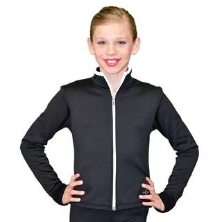 ChloeNoel Black White Zipper Ice Skating Jacket Girl 4-Adult XL