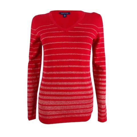 Tommy Hilfiger Women's Plus Size Striped Metallic Sweater