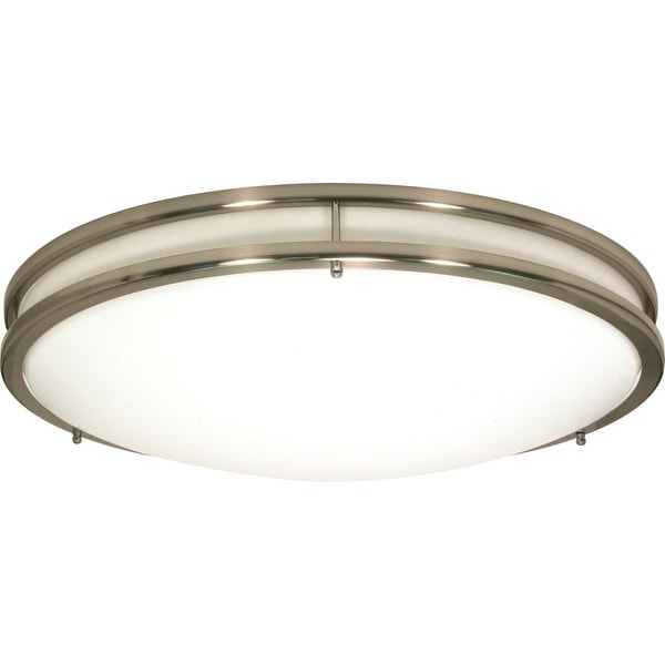 "Nuvo Lighting 62/1038 Glamour Single Light 24"" Wide Integrated LED Flush Mount Bowl Ceiling Fixture - Brushed nickel"