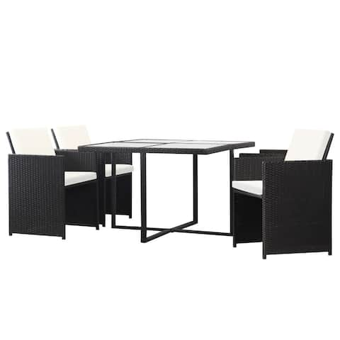 vidaXL 5 Piece Outdoor Dining Set with Cushions Poly Rattan Black Chair Table