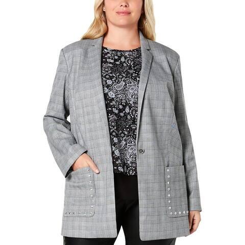 MICHAEL Michael Kors Womens Plus One-Button Blazer Glen Plaid Business