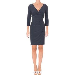 Lauren Ralph Lauren Womens Wear to Work Dress Ruched Faux-Wrap