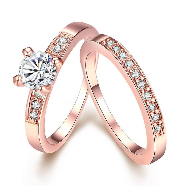 Rose Gold Plated 2 Piece Pave Crystal Ring