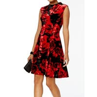 Connected Apparel Red Women's Size 6 Floral Velvet A-Line Dress