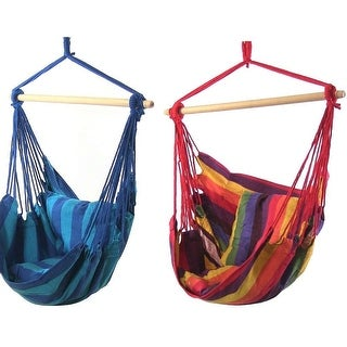 Sunnydaze Hanging Hammock Swing w/Two Cushions Sets of 2 - Multiple Colors