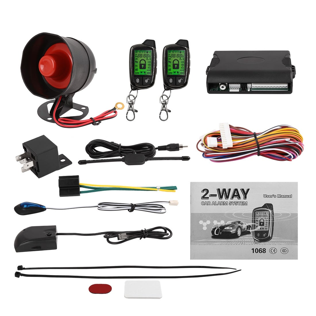 uxcell 2 Way Alarm Security System Vehicle LCD Remote Control Keyless Entry for Auto