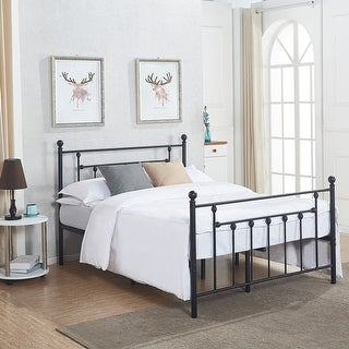 VECELO Full/Twin Size Victorian Metal Bed Frame,Box Spring Replacement With  Headboard