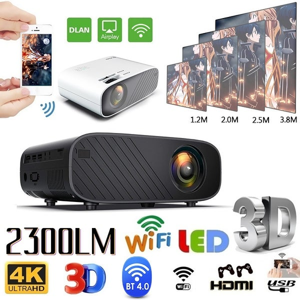 Mini WIFI Portable Projector Mobile Phone 3D 1080P HD Home Theater Video Projector 2300 lumens - 21*14.7*7.5cm. Opens flyout.