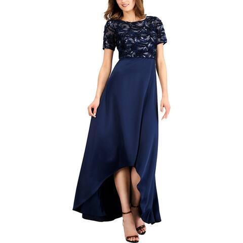 Adrianna Papell Womens Evening Dress Metallic Embroidered - Midnight