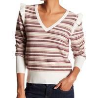Joie Beige Women's Large V-Neck Wool Striped Sweater
