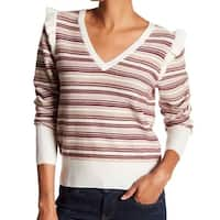 Joie Beige Women's Size Large L V-Neck Wool Striped Sweater