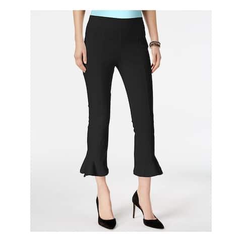 INC Womens Black Ruffled Cropped Pants Size 6