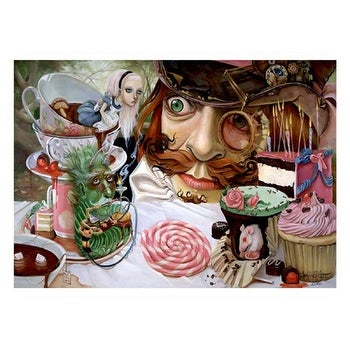 ''Alice in Wonderland (Tea Party)'' by Leslie Ditto Fantasy Art Print (14 x 20 in.)