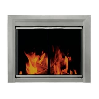 Pleasant Hearth CB-3300  Colby Cabinet Style Fireplace Screen and Smoked Glass Doors, Small - Sunlight Nickel Powder Coated