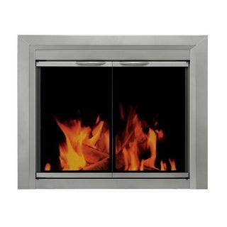 "Pleasant Hearth CB-3301  Colby 31"" H x 37.5"" L Medium Cabinet Style Fireplace Screen with Smoked Glass Doors - Sunlight Nickel"