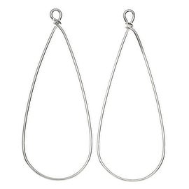 Nunn Design Wire Frame, Pear Drop 19.5x50.5mm, 2 Pieces, Silver Plated