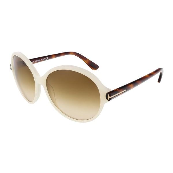 3500a98e81e7 Shop Tom Ford FT0343 S 20F Milena Pearl White Round Sunglasses ...