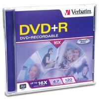 Verbatim 94916 Verbatim DVD+R 4.7GB 16X with Branded Surface - 1pk Jewel Case - 2 Hour Maximum Recording Time