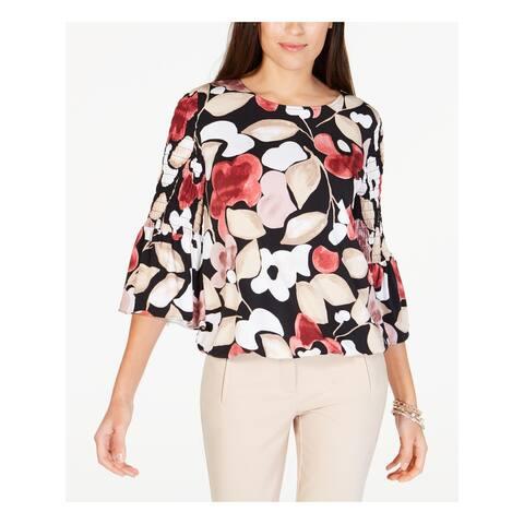 ALFANI Womens Black Floral 3/4 Sleeve Jewel Neck Top Size S