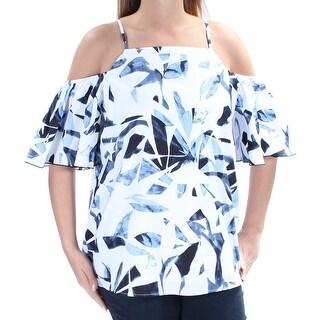 INC $69 Womens New 1201 Blue Floral Cold Shoulder Short Sleeve Top 14 B+B