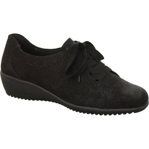 ara Women's Libby 44241 Lace-Up Black Suede Pin Dot