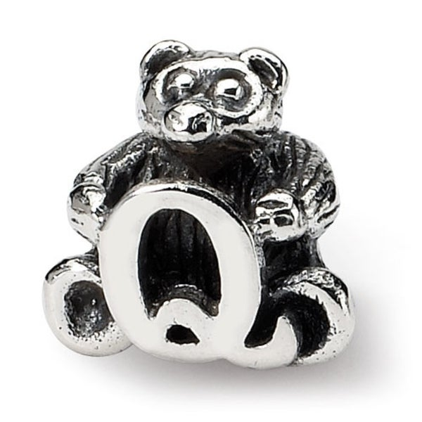 Sterling Silver Reflections Kids Letter Q Bead (3.5mm Diameter Hole)