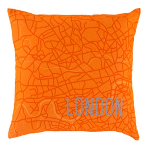"""18"""" Tangerine Orange and Light Gray Show Stopping """"LONDON"""" Decorative Throw Pillow - Down Filler"""
