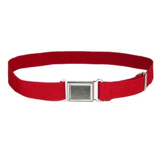 CTM® Kids' Gold Magnetic Buckle Elastic Stretch Belt - Red - One size