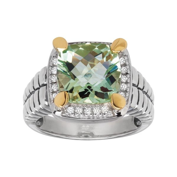4 1/4 ct Amethyst and 1/10 ct Diamond Ring in Sterling Silver and 14K Gold - Green