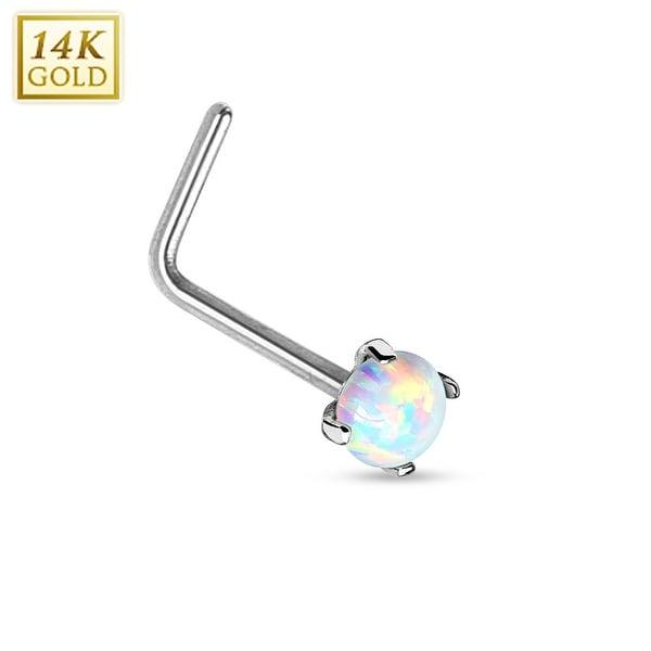 """14Kt White Gold Prong Opal L Bend Nose Ring - 20GA - 1/4"""" Length (Sold Ind.)"""