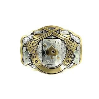 Crumrine Western Belt Buckle Peacemaker Lucky Silver Gold C11259 - 3 x 4