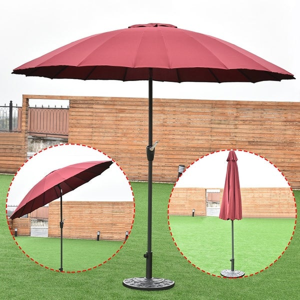 Costway Outdoor 9ft Patio Umbrella Sunshade Cover Market Garden Cafe Crank Tilt Burgundy