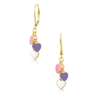 Lily Nily Girl's Heart Charms Leverback Earrings - Pink