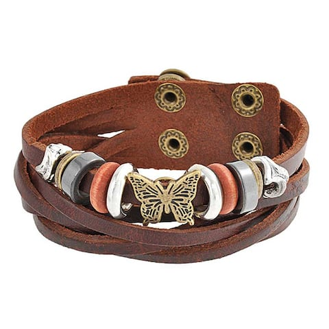 Butterfly Charm Brown Leather Wrap Cuff Bracelet Gold Plated