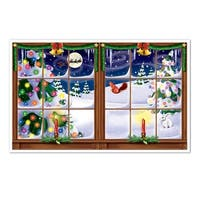 """Pack of 6 Winter's Snowy Christmas Insta-View Wall Decoration 38"""" x 62"""" - multi"""