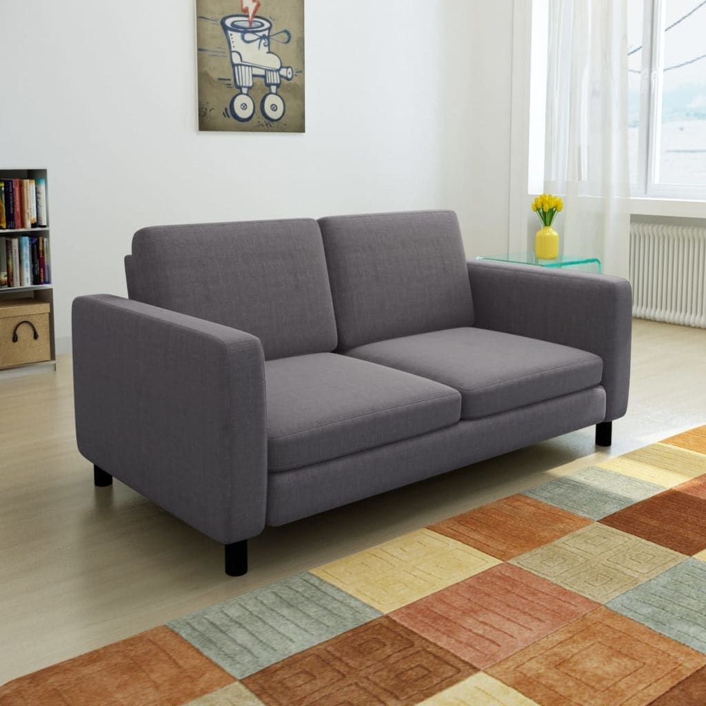 Strange Modern Fabric Upholstry Loveseat Double Sofa Couch 2 Seater Chair Dark Gray Spiritservingveterans Wood Chair Design Ideas Spiritservingveteransorg