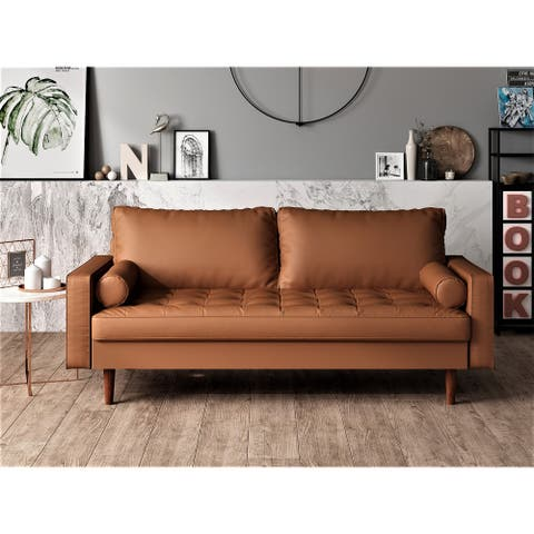 US Pride Faux Leather Mid-century Modern Sofa