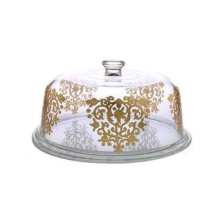 Dome Cake Plate With Rich Gold Artwork
