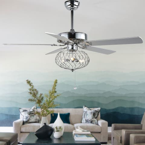Modern Industrial Cage Ceiling Fan with Remote, Chrome