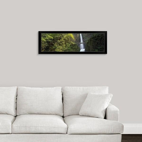 """Multnomah Falls, Columbia River Gorge, Portland, Multnomah County, Oregon"" Black Framed Print"
