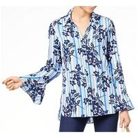 NY Collection Blue Women's Size Medium M Bell Sleeve Foral Blouse