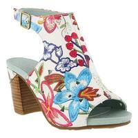 L'Artiste by Spring Step Women's Tapestry Open Toe Bootie White/Red Multi Leather