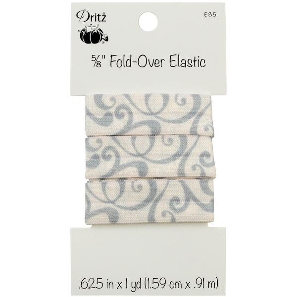 """Fold-Over Elastic 5/8""""X1yd-Scroll - Silver"""