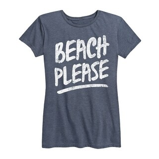 Beach Please, Stacked White  - Women's Short Sleeve Graphic T-Shirt