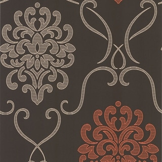 Brewster DL30445 Suzette Brown Modern Damask Wallpaper