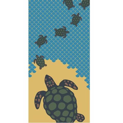 Turtles & Waves 30x60 Brazilian Velour Beach Towel