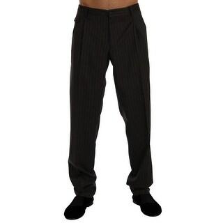 Dolce & Gabbana Gray Striped Wool Stretch Formal Pants - it54-xxl