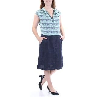 MAXMARA $335 Womens New 5420 Blue Printed Pocketed Cap Sleeve Dress 10 B+B