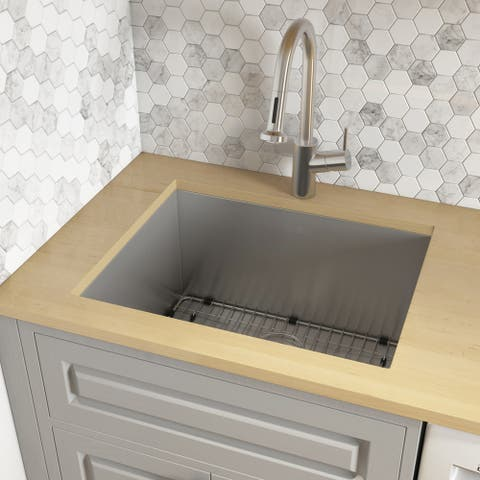 "Ruvati 23"" x 18"" x 12"" Deep Laundry Utility Sink Undermount 16 Gauge Stainless Steel - RVU6100 - 23"" x 18"" x 12"""