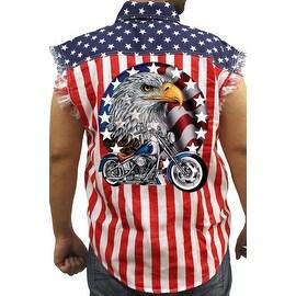 Men's USA Flag Sleeveless Denim Shirt Red White & Bold Biker Stars & Stripes